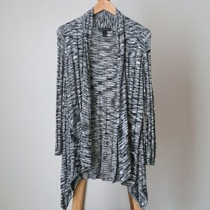 INC Spacedyed Knit Open Front Draped Cardigan